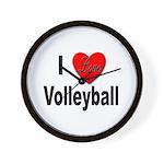 I Love Volleyball Wall Clock