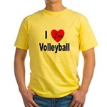 I Love Volleyball Yellow T-Shirt