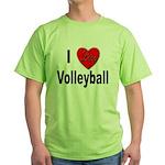 I Love Volleyball Green T-Shirt