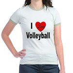 I Love Volleyball (Front) Jr. Ringer T-Shirt