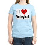 I Love Volleyball (Front) Women's Pink T-Shirt