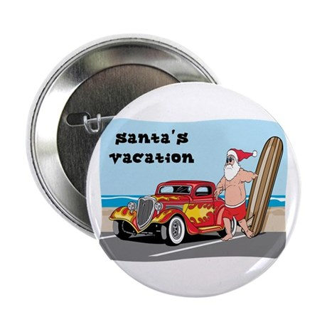 "Santa's Hot Rod Beach Vacation 2.25"" Button (100 p"