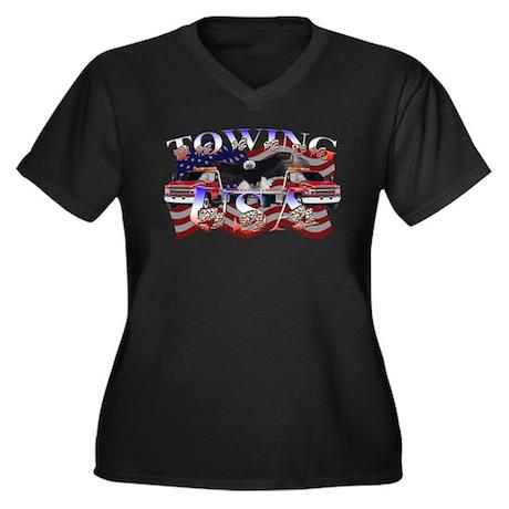 Towing USA Women's Plus Size V-Neck Dark T-Shirt