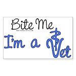 Bite Me, I'm A Vet. Veterinarian Sticker (Rectangu