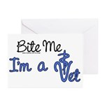 Bite Me, I'm A Vet. Veterinarian Greeting Cards (P