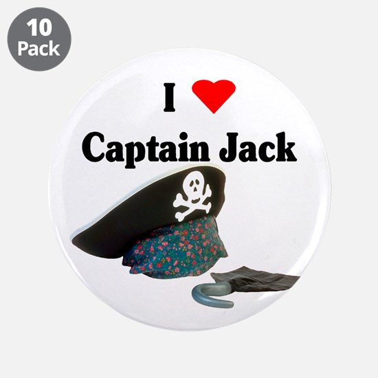 "I Heart Captain Jack 3.5"" Button (10 pack)"