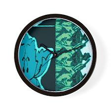Blue/Green Flower Wall Clock