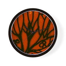 Orange Leaf Wall Clock