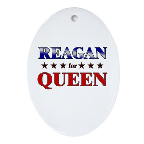 REAGAN for queen Oval Ornament