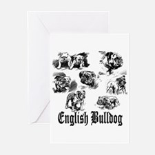 Vintage Bulldog Sketches Greeting Cards (Package o