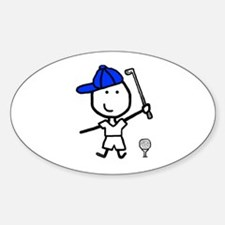 Boy & Golf Oval Decal