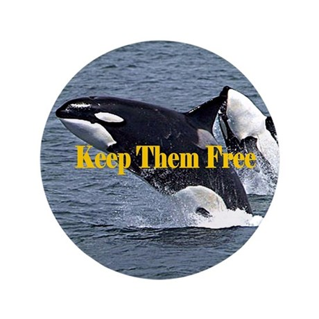 """Dolphins Keep Them Free 3.5"""" Button"""