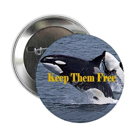 "Dolphins Keep Them Free 2.25"" Button (100 pack)"