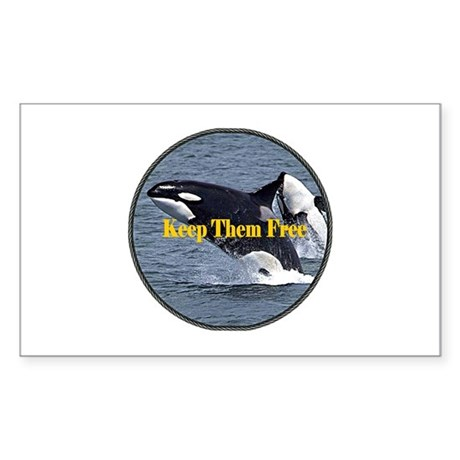 Dolphins Keep Them Free Sticker (Rectangle)