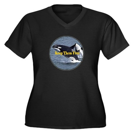 Dolphins Keep Them Free Women's Plus Size V-Neck D