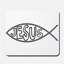 Christian Fish With Jesus Mousepad
