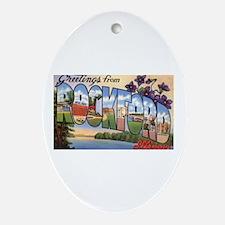 Rockford Illinois Greetings Oval Ornament