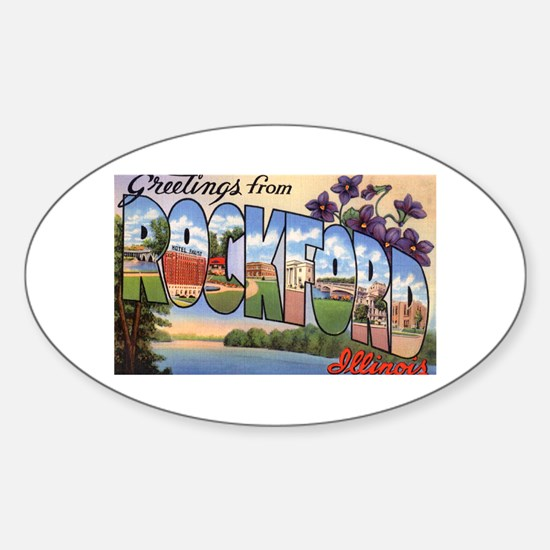 Rockford Illinois Greetings Oval Decal