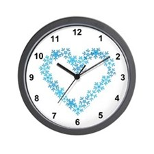 Snowflake Heart Wall Clock