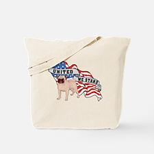 Pug United We Stand American Flag Tote Bag