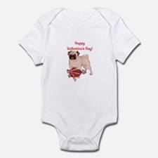 Happy Valentine's Day Pug Infant Bodysuit