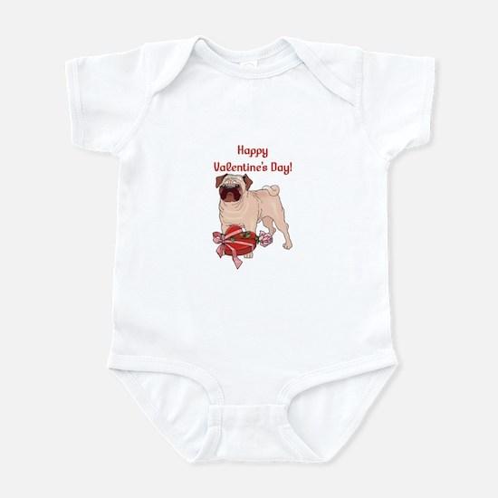 Happy Valentine's Day Pug Infant Bodysuit