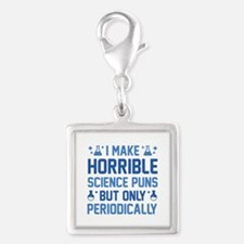 Science Puns Silver Square Charm