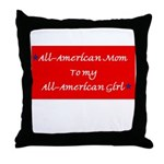 All-American Mom/Girl Throw Pillow