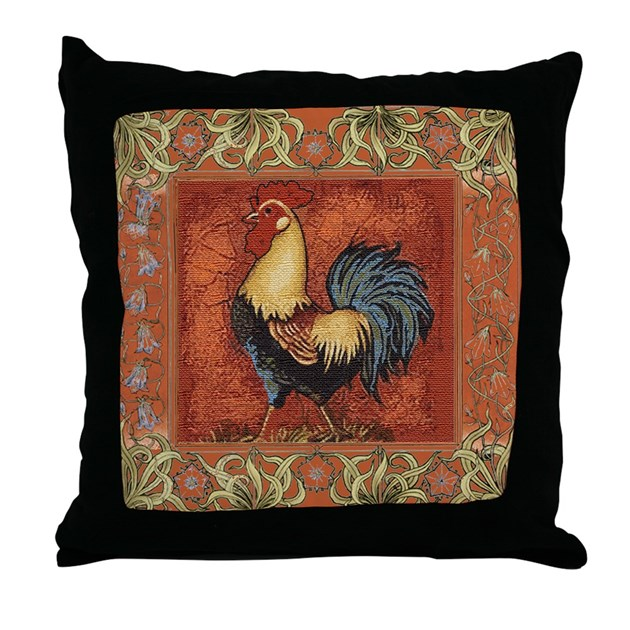 French Country Le Coq Rooster Throw Pillow by scarebaby