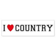 I Love Country Bumper Bumper Sticker