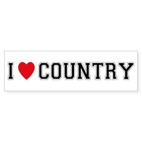 I Love Country Bumper Sticker