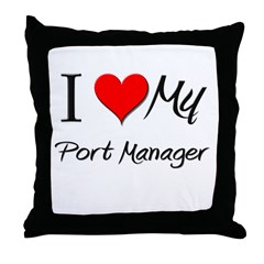 I Heart My Port Manager Throw Pillow