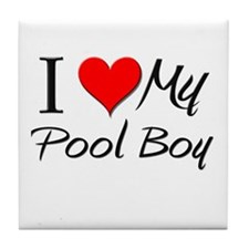 I Heart My Pool Boy Tile Coaster