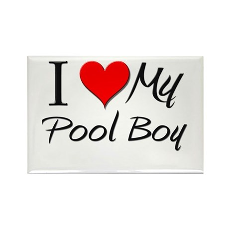 I Heart My Pool Boy Rectangle Magnet