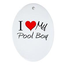 I Heart My Pool Boy Oval Ornament