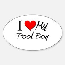 I Heart My Pool Boy Oval Decal