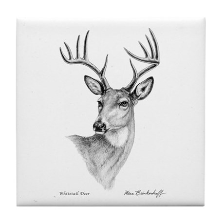 Whitetail Deer ~ Tile Coaster