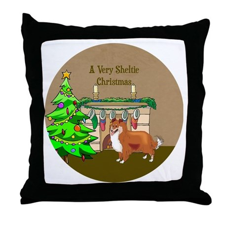 A Very Sheltie Christmas Throw Pillow