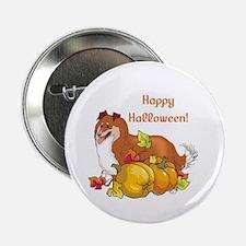 """Happy Halloween Sheltie 2.25"""" Button"""