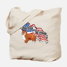 Sheltie United We Stand American Flag Tote Bag