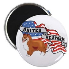 """Sheltie United We Stand American Flag 2.25"""" Magnet"""
