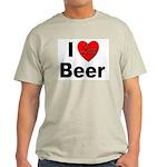 I Love Beer (Front) Ash Grey T-Shirt