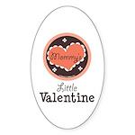Pink Brown Mommy's Little Valentine Oval Sticker
