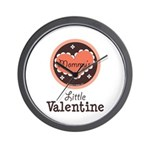 Pink Brown Mommy's Little Valentine Wall Clock