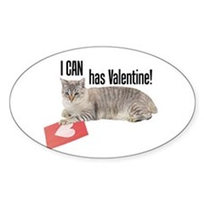 I CAN Has Valentine! Lolcat Oval Decal