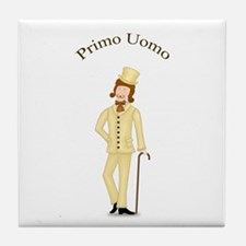 Brown-haired Primo Uomo in Ivory Tile Coaster