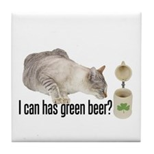 I Can Has Green Beer? Lolcat Tile Coaster