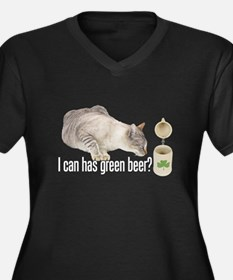 I Can Has Green Beer? Lolcat Women's Plus Size V-N