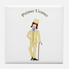 Brunette Primo Uomo in Ivory Suit Tile Coaster