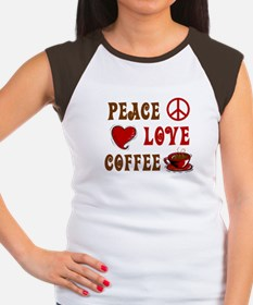 Peace Love Coffee 1 Women's Cap Sleeve T-Shirt